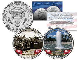 World War II D-DAY WWII Memorial Anniversary JFK Half Dollar Colorize 2-... - $12.95