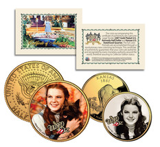 Wizard of Oz JUDY GARLAND Kansas Quarter & JFK Half Dollar 2-Coin Set LI... - $12.95