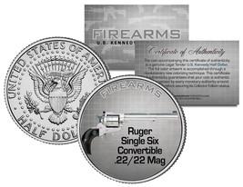 RUGER SINGLE SIX .22 Mag Gun Firearm JFK Kennedy Half Dollar US Colorize... - $8.95