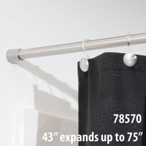 "InterDesign Chrome Shower Curtain Set: Tension Rod (43-75"") & Hooks (Set of 12) image 2"
