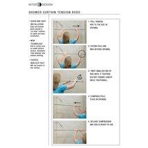 "InterDesign Chrome Shower Curtain Set: Tension Rod (43-75"") & Hooks (Set of 12) image 3"
