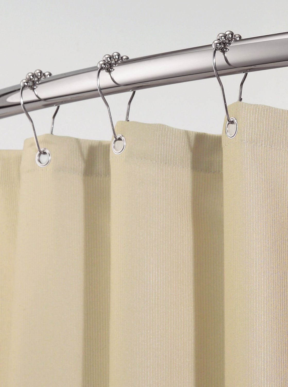 "InterDesign Chrome Shower Curtain Set: Tension Rod (43-75"") & Hooks (Set of 12)"