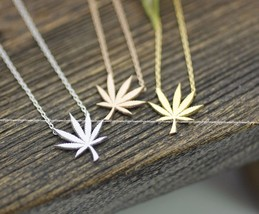 Marijuana leaf Pendant Necklace in 3 colors - $12.00