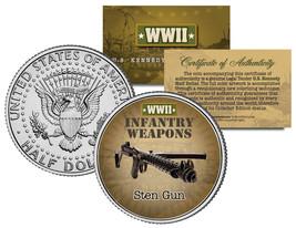 STEN GUN * WWII Infantry Weapons * JFK Kennedy Half Dollar U.S. Coin - $8.95