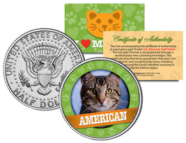 AMERICAN Cat JFK Kennedy Half Dollar US Colorized Coin - $8.95