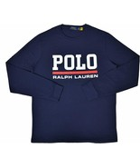 Polo Ralph Lauren Men's Logo Graphic Long Sleeve Crewneck T-Shirt M NAVY BLUE - $54.95