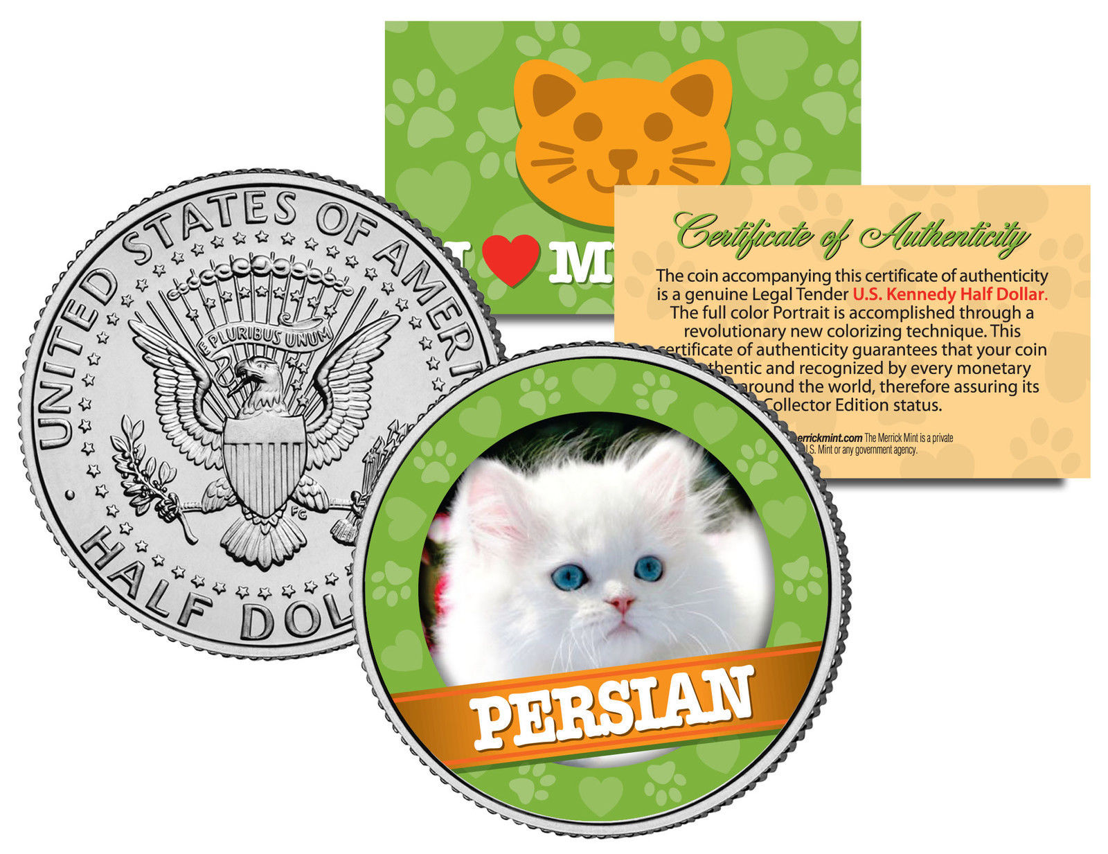 PERSIAN Cat JFK Kennedy Half Dollar US Colorized Coin