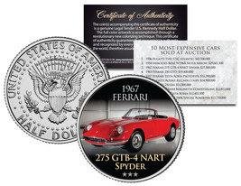 1967 FERRARI *Expensive Auction Cars* JFK Half Dollar Coin 275 GTB-4 NAR... - $8.95