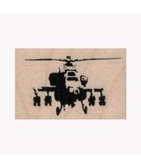 Mounted Rubber Stamp, Banksy Helicopter Gunship, Chopper, Military, Whir... - $7.70