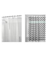 InterDesign Chevron Shower Curtain Gray/Aruba &  Shower Curtain Liner (7... - $20.99