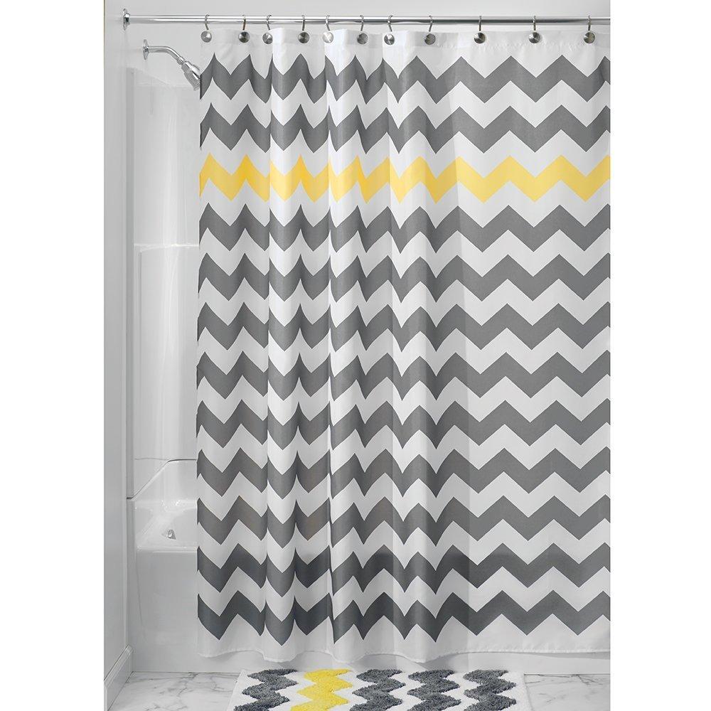 "InterDesign Chevron Shower Curtain, Gray/Yellow & Shower Curtain Liner, 72 x 72"""
