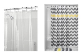 InterDesign Chevron Shower Curtain, Gray/Yellow & Shower Curtain Liner, ... - $20.99