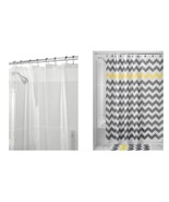 InterDesign Chevron Shower Curtain, Gray/Yellow & Shower Curtain Liner, ... - $20.99