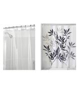 InterDesign Leaves Shower Curtain, Black/Gray & Shower Curtain Liner, 72... - $24.99