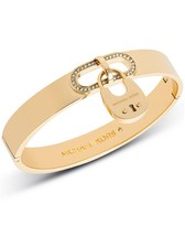 NWT MICHAEL KORS CITYSCAPE HARDWARE CRYSTAL GOLD PADLOCK BANGLE MKJ4610710 - $65.00