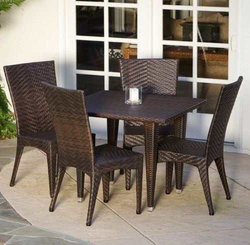 5 Piece Outdoor Dining Set Wicker 4 Chairs & 1 Table Modern Brown Sturdy Stylish - $850.00