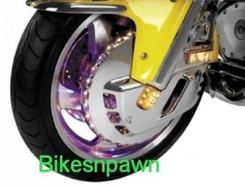 Show Chrome Tri Color LED Lighted Front Rotor Covers Gold Wing 01-10, 12-13