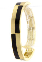 Black and Gold Striped Stretch Bracelet, Narrow Metal Bracelet, Black Gold - $17.99