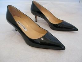 MANOLO BLAHNIK Black Patent Leather 2 1/4 Inch Pumps - Size 38 1/2 - $399.99