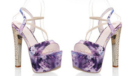 An item in the Fashion category: PS215 sexy flower print jean sandals, 16 cm heels, size 35-40,  violet