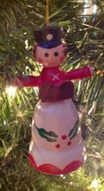 Christmas Ornament Vintage 1970s Wood Woman Caroler Jasco - $9.84