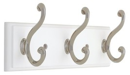 Liberty Hardware 129854 10-Inch Hook Rail/Coat Rack with 3 Scroll Hooks, White a