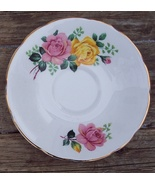 Delphine Bone China England Pink and Yellow Roses Saucer (only) Mint Con... - $5.00