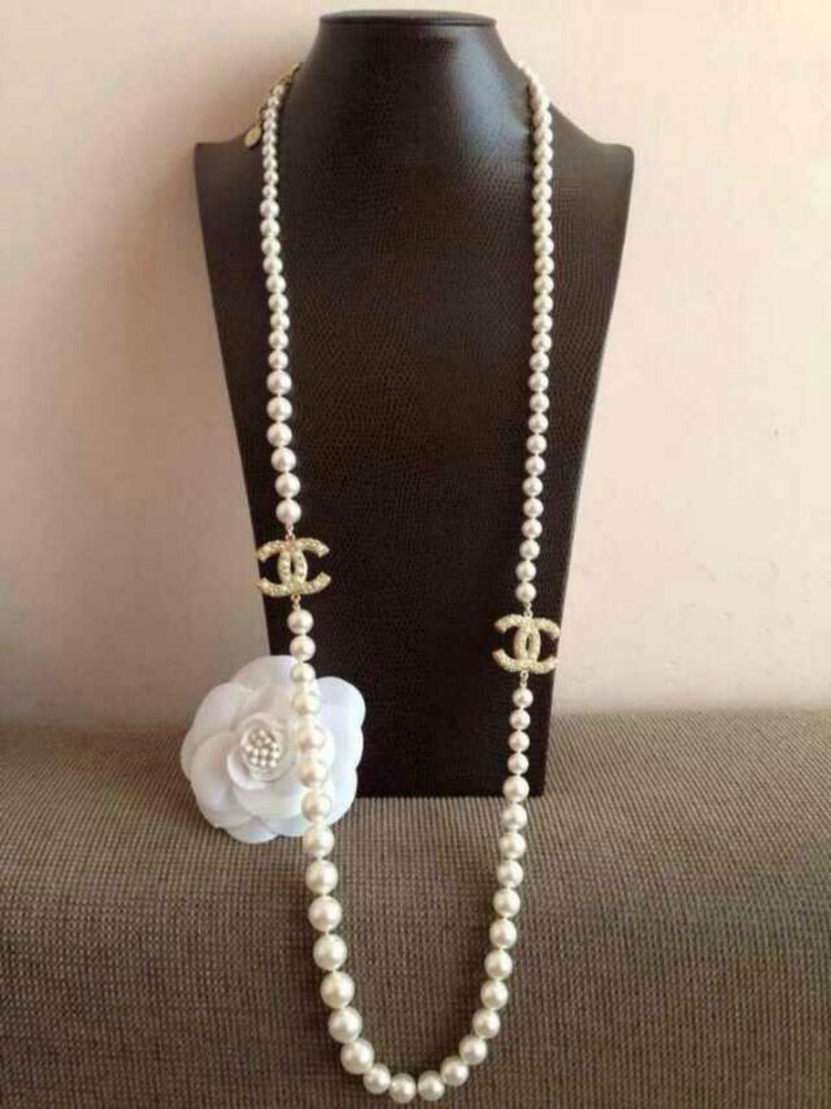 Authentic Chanel 100th Anniversary 2 Cc Faux Pearl Gold Necklace Rare