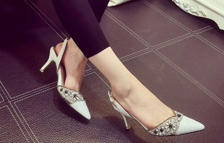 Primary image for PS210 sexy pointed RHINESTONES sandals, 7.5 cm heels, size 35-39, SILVER