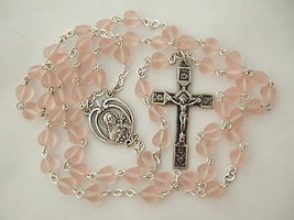 Catholic Rosary Soft Pink Heart Shaped Glass Beads Vintage St. Therese m... - $29.92