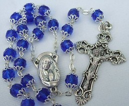 Catholic Rosary Sapphire Blue Crystal Glass 8mm double capped beads silv... - $33.66