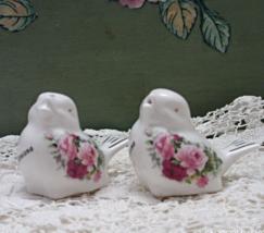 Vintage Miniature White Birds, Pink Roses MONTANA Souvenir Salt & Pepper Shakers - $10.00