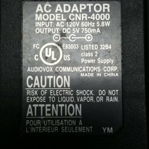 Audiovox CNR-4000 AC DC Power Supply Adapter Charger Output 5VDC 750mA - $6.64