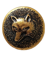 Vintage Brass Metal Button Fox Head Self Shank Victorian Fabric Sewing  #8 - $12.95