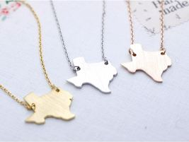 Texas (TX) necklace in gold / silver / pink gold(925 sterling silver / p... - $11.50+