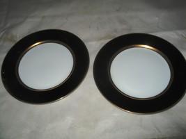 "(2) Fitz & Floyd ""Renaissance"" Black on White Bread Plates - $8.99"