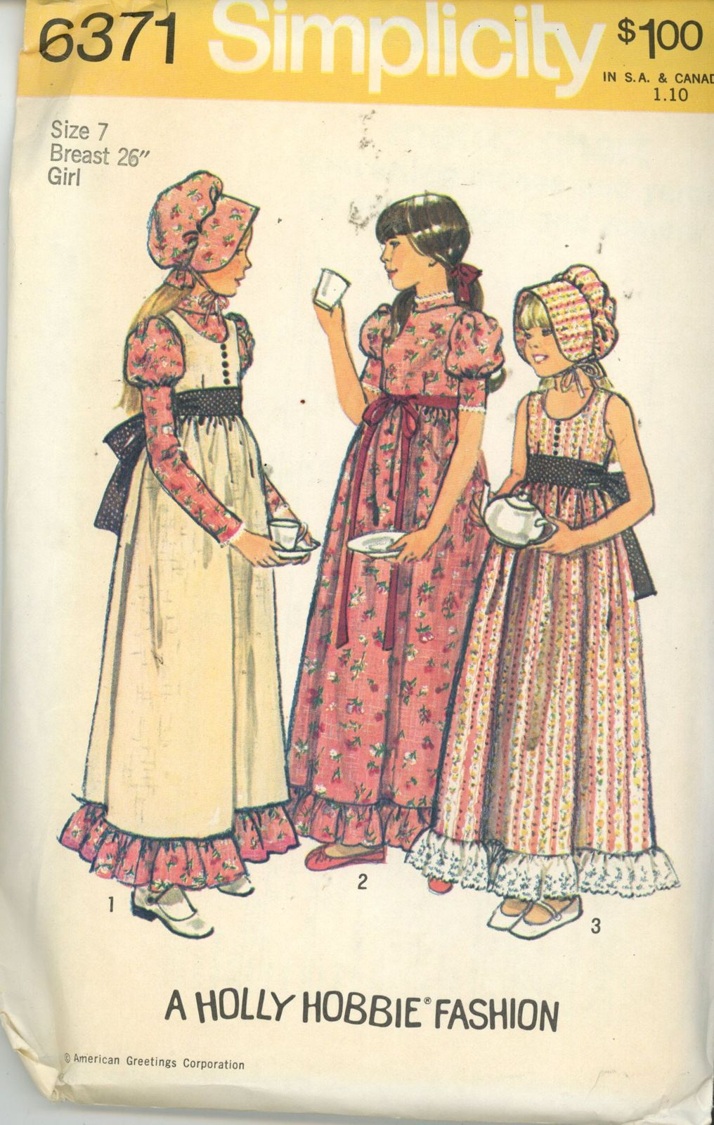 Primary image for Holly Hobbie Girl Dress Bonnet Jumper sewing pattern size 7 Simplicity 6371 vint