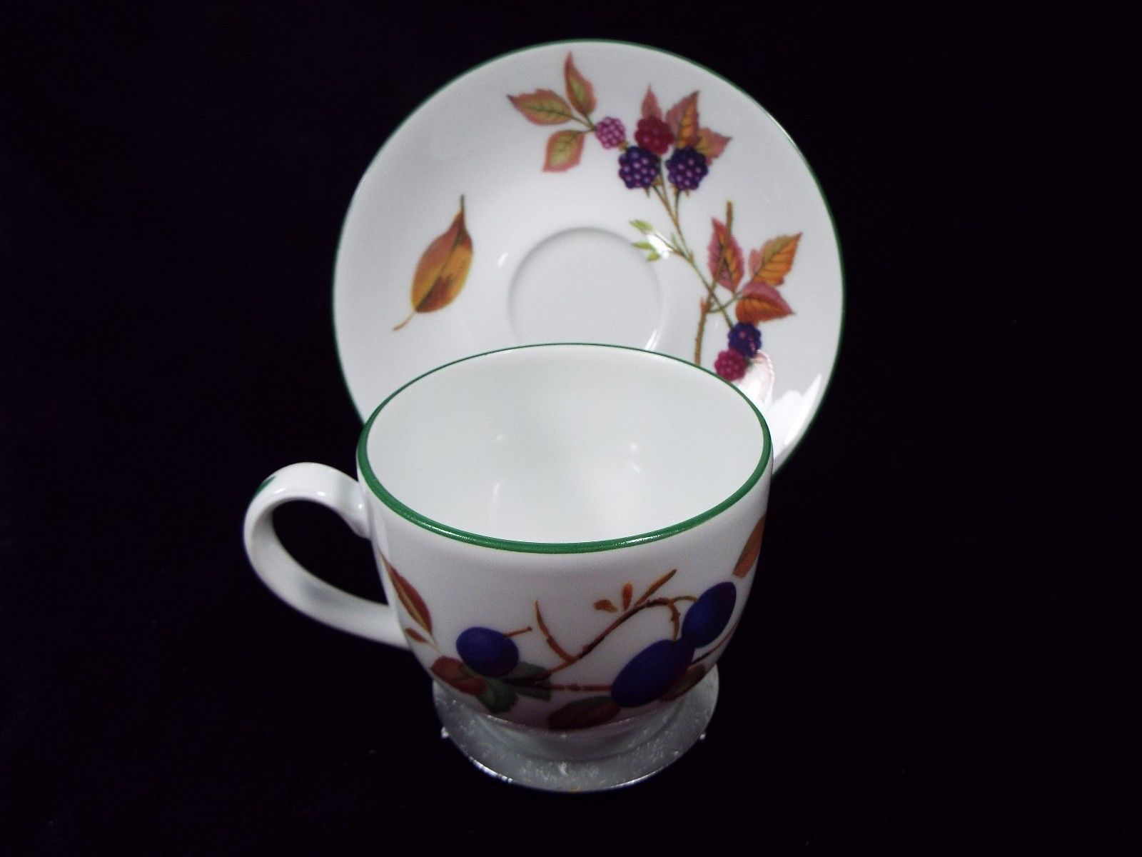 Royal Worcester Evesham Vale Cup and Saucer Set with Green Trim