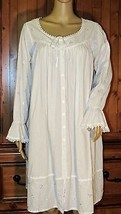 Eileen West White Cotton Nightgown Lavender Embroidery Size: S - $23.36