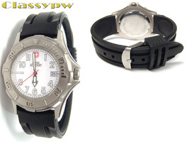 Rare Vintage Swiss Military White Dial Silicone Band Watch For Men With Date - $54.07