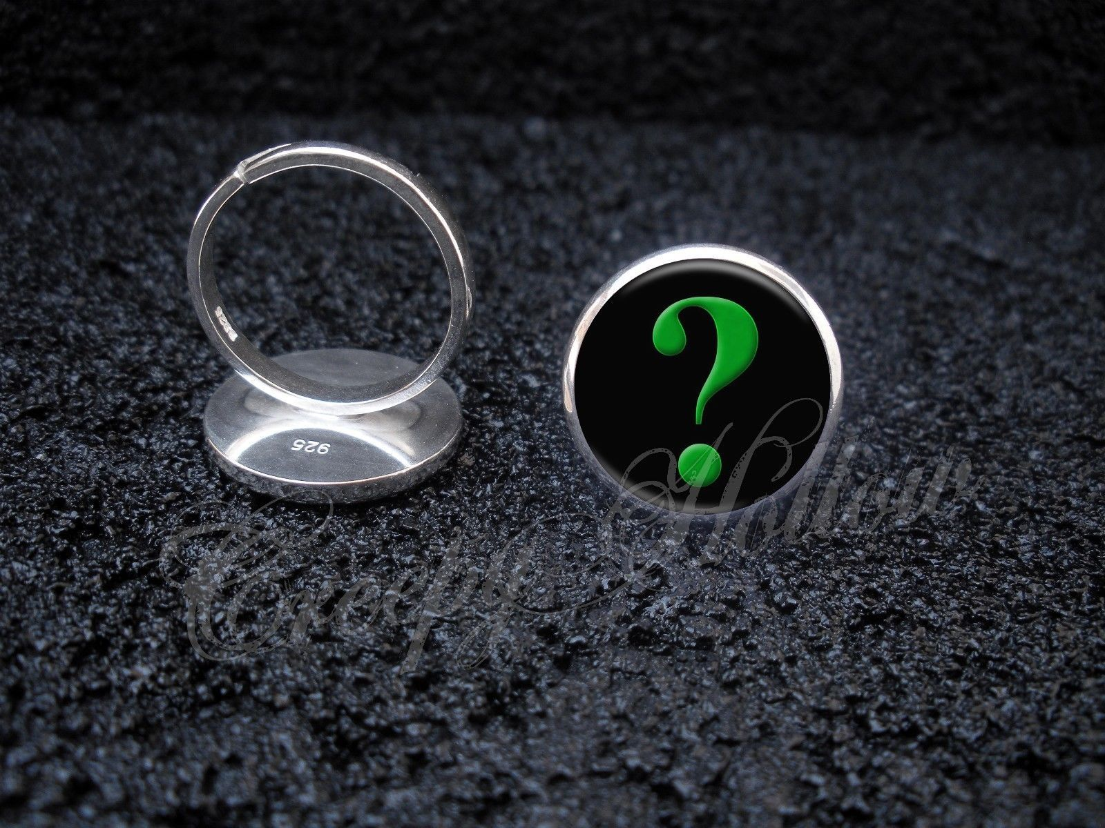 Primary image for 925 Sterling Silver Adjustable Ring Green Question Mark Interrogative