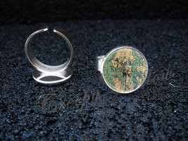 Choose a City Vintage Map Locations Adjustable Ring - $13.00