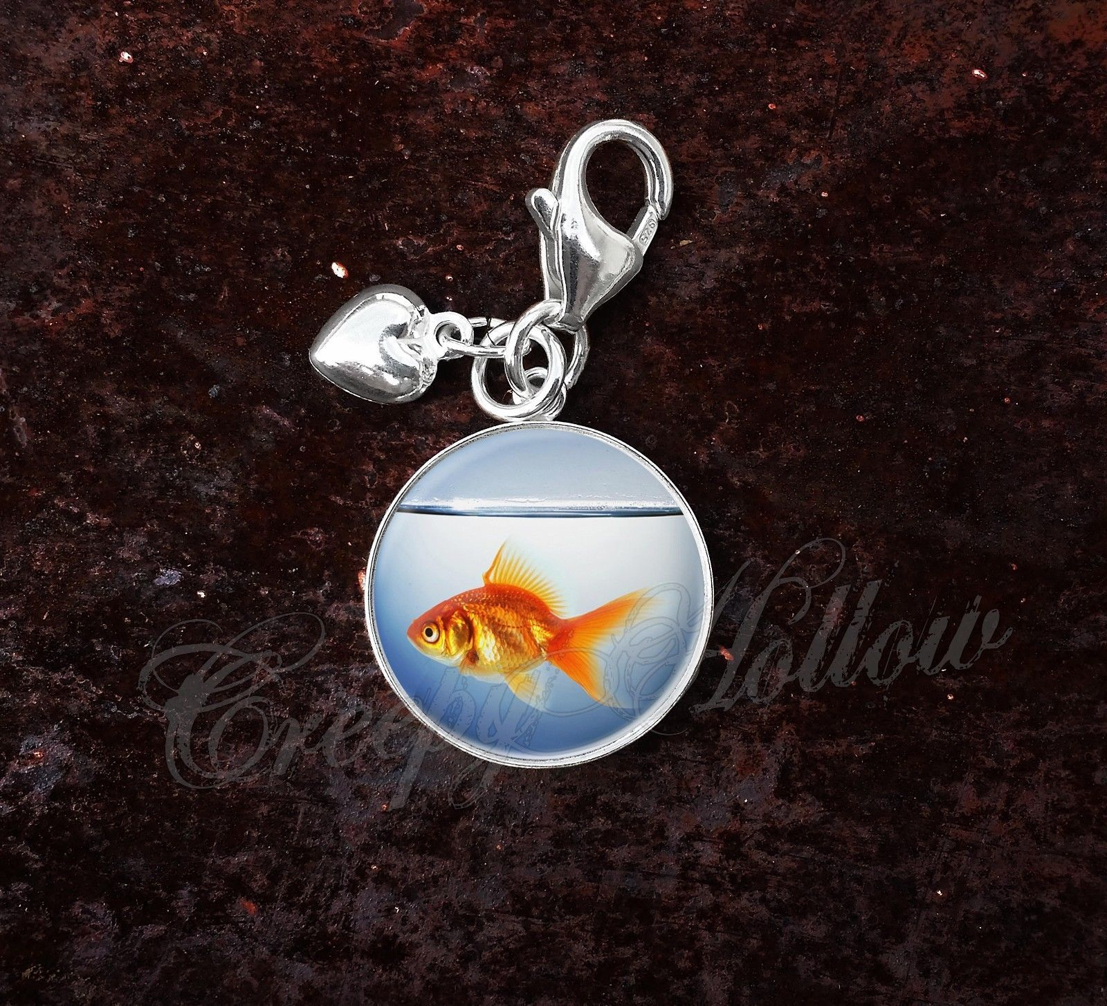 Primary image for 925 Sterling Silver Charm Orange Goldfish in Fish Bowl