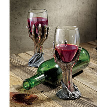 Set of 2: Grand Toast to the Undead Bony Zombie Hands Wine Goblet Chalices - £56.01 GBP