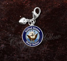 925 Sterling Silver Charm United States Navy Sailor image 1