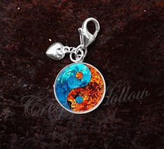 925 Sterling Silver Charm Fire Water Yin Yang Taoism Confucianism - $25.25