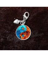 925 Sterling Silver Charm Fire Water Yin Yang Taoism Confucianism - $25.25