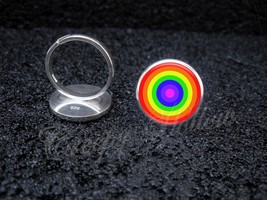925 Sterling Silver Adjustable Ring Circle Rainbow - $34.65