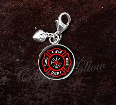 925 Sterling Silver Charm Fire Department Symbol Firefighter - $25.25