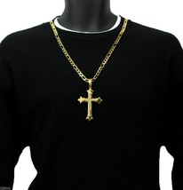 "Men 30"" Gold Stainless Steel 8mm Italian Figaro Chain Necklace Cross Pen... - $29.69"